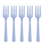 Pastel Blue Heavy Weight Plastic Forks - 12 PKG/48