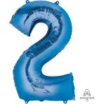 """Number 2 Blue SuperShape Foil Balloons 21""""/53cm w x 35""""/88cm h P50 - 5 PC"""