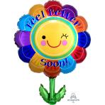 """Feel Better Soon Flower SuperShape Foil Balloons 21""""/53cm w x 29""""/73cm h P35 - 5 PC"""