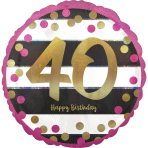 Pink & Gold 40th Birthday Holographic Standard Foil Balloons S40 - 5 PC