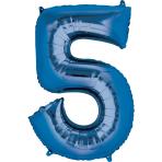 """Number 5 Blue Minishape Foil Balloons 16""""/""""40cm A04 - 5 PC"""