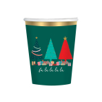Traditional Christmas Paper Cups 250ml - 6 PKG/8