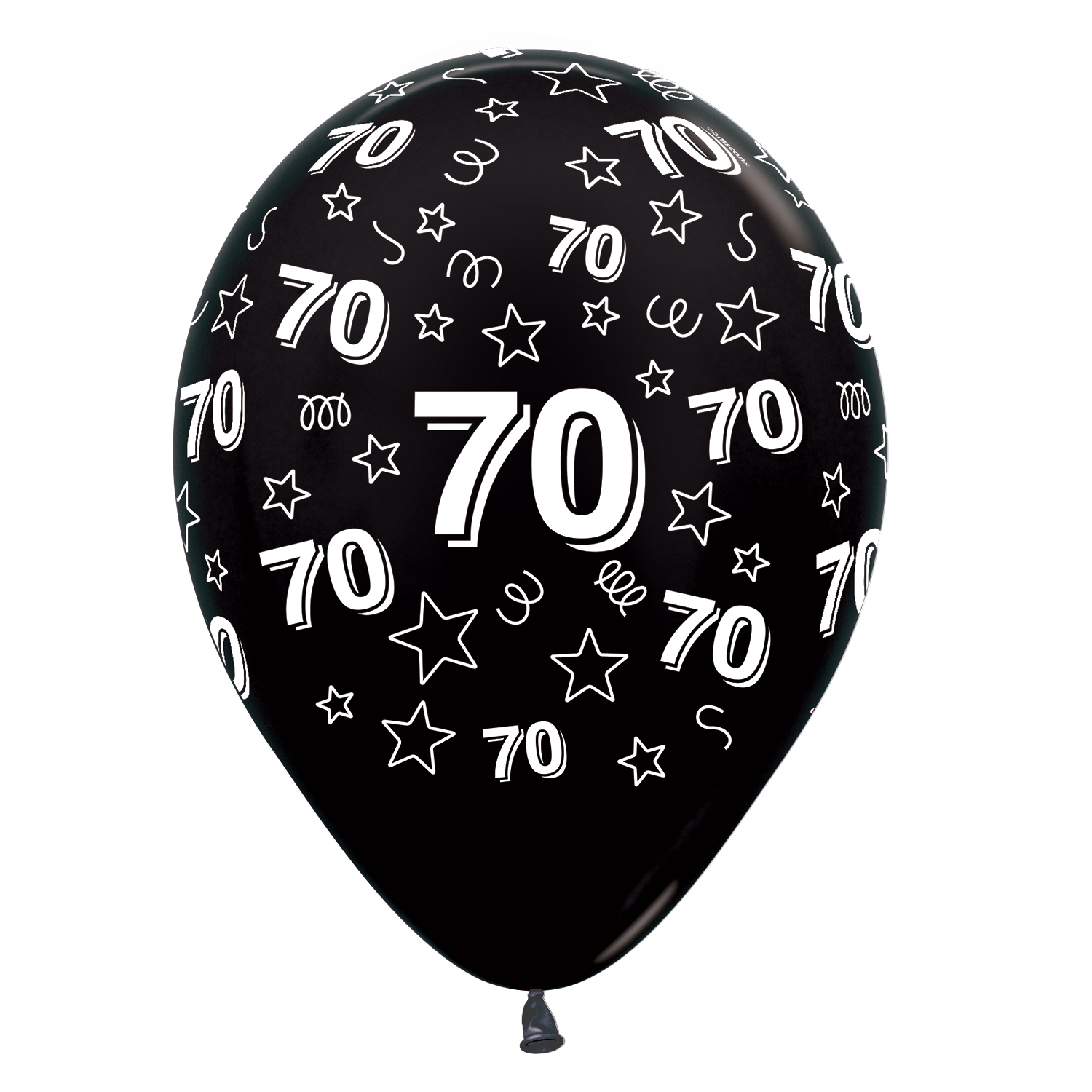 70th Birthday Stars Silver 481 Fuchsia 512 Black 580 Mix Latex Balloons 12 30cm