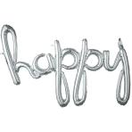 """Happy"" Script Phrase Silver Foil Balloons 39""/99cm x 27""/68cm G40 - 5 PC"