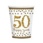 Sparkling Golden Anniversary Paper Cups 266ml - 6 PKG/8