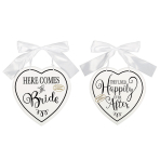 Here Comes the Bride MDF Signs 24cm x 25cm x 0.7cm - 6 PC