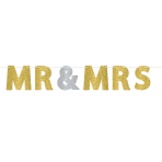 Mr & Mrs Glitter Letter Banners 3.65m x 18cm - 6 PC