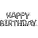 Happy Birthday Silver Phrase Balloons P55 - 5 PC