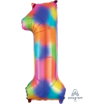 """Number 1 Rainbow Splash SuperShape Foil Balloons 13""""/33cm w x 34""""/86cm h P50 - 5 PC"""