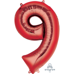 "Number 9 Red SuperShape Foil Balloons 23""/58cm w x 35""/88cm h P50 - 5 PC"