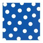Bright Royal Blue Dots Luncheon Napkins 33cm - 12 PKG/16