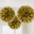 Gold Fluffy Pom Pom Decorations 40cm - 6 PKG/3