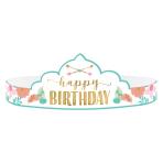 Boho Birthday Girl Paper Tiaras - 12 PKG/8