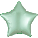 Mint Green Star Satin Luxe Standard HX Packaged Foil Balloons S15 - 5 PC