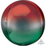 """Ombre Red & Green Orbz Packaged Foil Balloons 15""""/38cm w x 16""""/40cm h G20 - 5 PC"""
