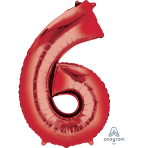 """Number 6 Red SuperShape Foil Balloons 23""""/58cm w x 35""""/88cm h P50 - 5 PC"""