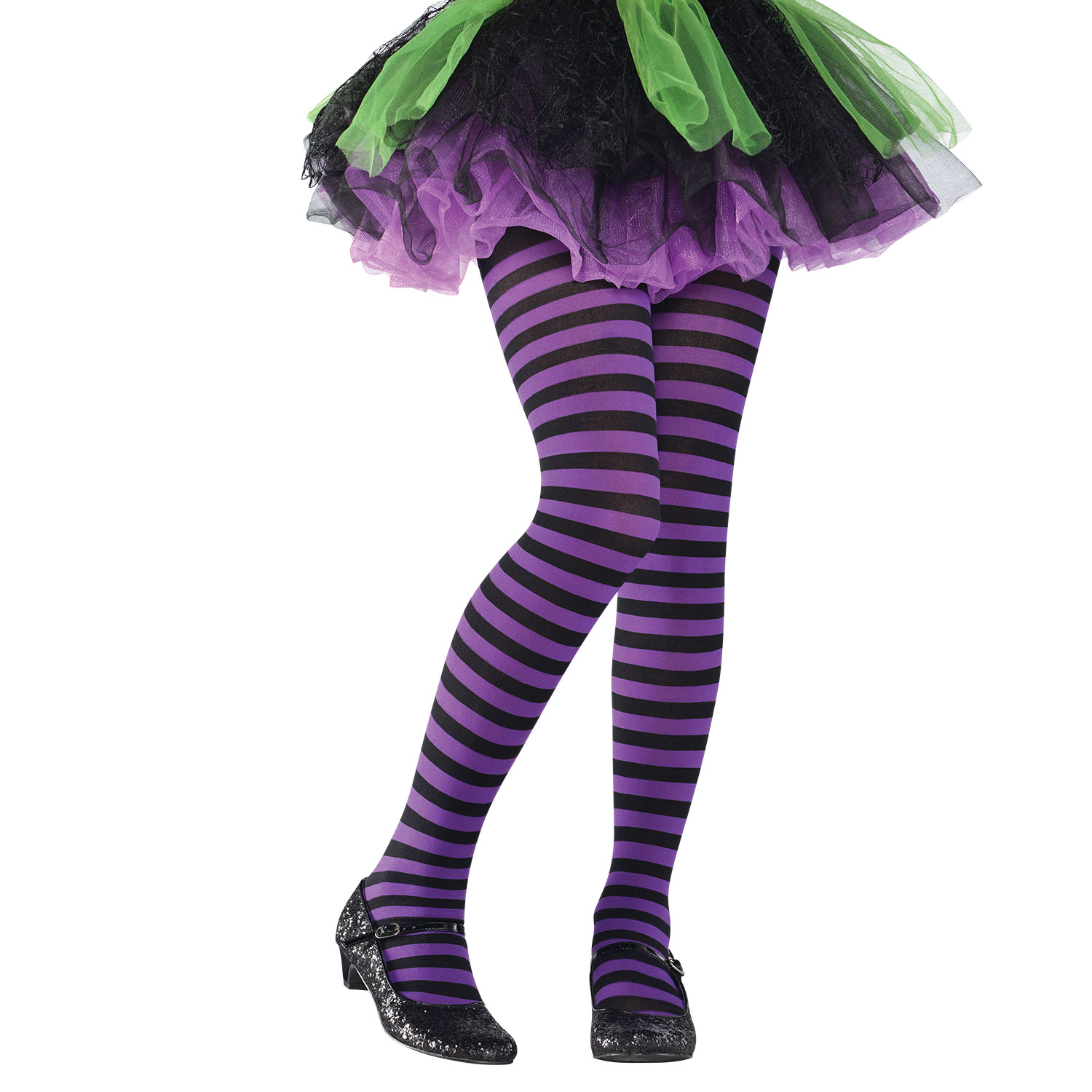 Purple and Black Striped Tights Witch Halloween Child Fancy Dress Accessory Kids