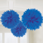 Bright Royal Blue Paper Fluffy Decorations 40cm - 12 PKG/3