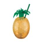 Hawaiian Pineapple Cups with Straw - 6 PC