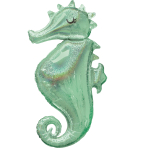 "Mermaid Wishes Seahorse SuperShape Foil Balloons 20""/50cm x 38""/96cm P40 - 5 PC"