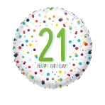 Confetti Birthday 21st Standard Foil Balloons S40 - 5 PC