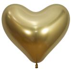 "Reflex Crystal Gold Heart 970 Latex Balloons 14""/35cm - 50 PC"