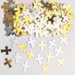 Crosses Gold & Silver Metaliic Confetti 14g - 12 PKG