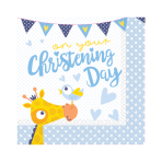 On your Christening Day Blue Luncheon Napkins 33cm - 6 PKG/16
