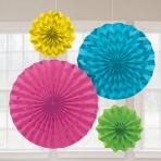 Multi Colour Glitter Paper Fans - 6 PKG/4