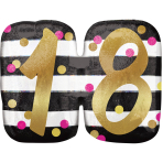 """Pink & Gold 18th Birthday Holographic SuperShape Foil Balloons 25""""/63cm x 20""""/50cm P40 - 5 PC"""