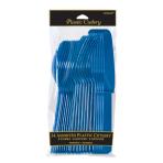 Bright Royal Blue Assorted Plastic Cutlery - 12 PKG/24
