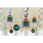 60th Celebrate Swirls Decorations Pack - 12 PKG/12