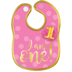 "1st Birthday Girl ""I Am One"" Polyester Bib with Gold Hot Stamped Lettering - 6 PC"