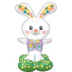 """Spotted Easter Bunny AirLoonz Foil Balloons 29""""/73cm w x 46""""/116cm h P70 - 3 PC"""