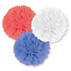Red White & Blue Fluffy Decorations 40cm - 6 PKG/3