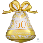 "50th Anniversary Gold Bell SuperShape Foil Balloons 22""/56cm w x 27""/69cm h P30 - 5 PC"