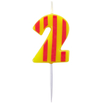 Dots & Stripes Birthday Candles Number 2 - 4.5cm - 12 PKG