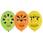 "Jungle Friends 4 Sided Print Latex Balloons 11""/27.5cm - 6 PKG/6"