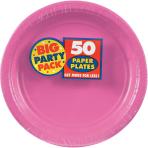 Bright Pink Paper Plates 23cm - 6 PKG/50