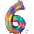 """Number 6 Rainbow Splash SuperShape Foil Balloons 22""""/55cm w x 35""""/88cm h P50 - 5 PC"""