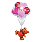 "Happy Valentine's Day Floating Bear Giant Multi-Balloon 29""/73cm x 56""/1.42m P70 - 5 PC"