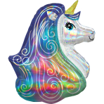 "Rainbow Unicorn Iridescent SuperShape XL Foil Balloons 26""/66cm w x 30""/76cm h P40 - 5 PC"