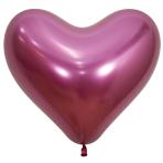 "Reflex Fuchsia Heart 970 Latex Balloons 14""/35cm - 50 PC"