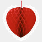 Red Heart-Shaped Honeycomb Decorations - 9 PC
