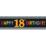 18th Happy Birthday Giant Banners 165cm x 50.8cm - 6 PC