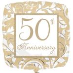 50th Anniversary Gold Elegant Scroll Standard Foil Balloons S40 - 5 PC