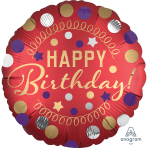 Happy Birthday Red Satin Standard XL Foil Balloons S40 - 5 PC