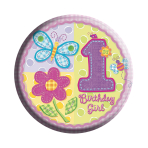 Age 1 Girl Badge (6.2cm) 6pkg