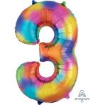 """Number 3 Rainbow Splash SuperShape Foil Balloons 21""""/53cm w x 35""""/88cm h P50 - 5 PC"""