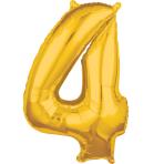 """Number 4 Gold SuperShape Mid-Size Foil Balloons 18""""/45cm w x 26""""/66cm h P31 - 5 PC"""